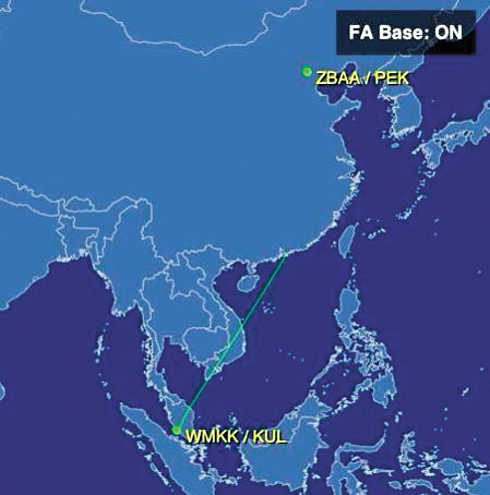 吉隆坡飞北京航班失联