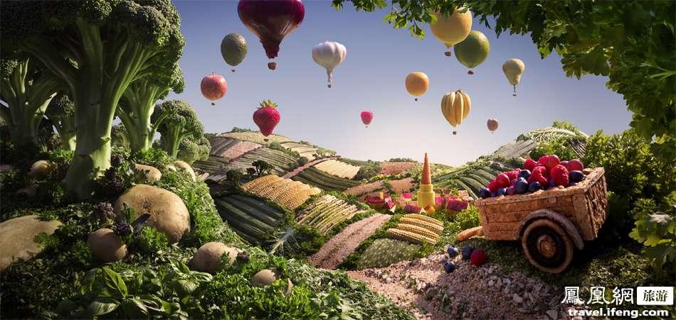 另外,亦有西兰花为树和马铃薯成石,还能看到玉米农田,黄瓜农田,乳酪