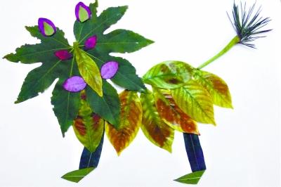 春天里,五彩树叶来作画