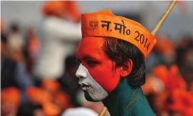 印度大选前夕,人民党支持者在密鲁特集会。