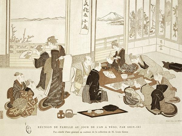 家人新年团聚时喝茶聚餐的情景-文人与禅家,生活与修行 中日茶风图片