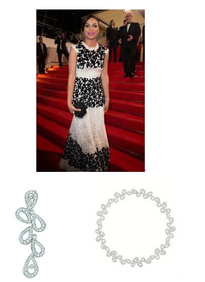 美��女演�T�_莎里�W•道森(Rosario Dawson)佩戴�f����摩�{哥格蕾�z王妃系列瑰��珠��玫瑰花瓣系列耳�h及手�C出席�影《人�|》首映�Y