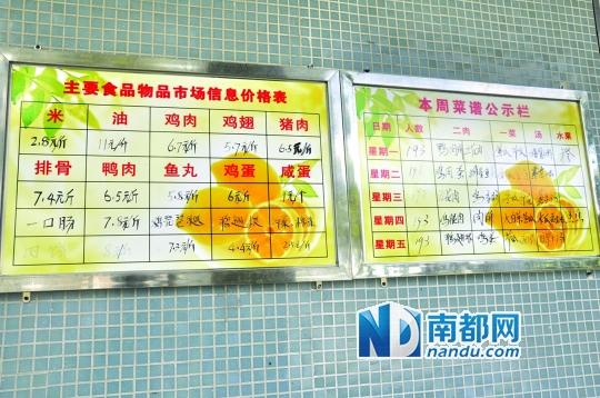 上川中学在学生食堂公示一周菜谱及主要食品价格.