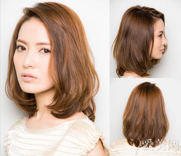 中短发侧分两把头发修颜瘦脸,棕色头发衬出白皙肌肤.