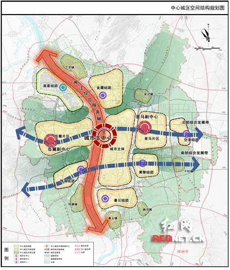 按照规划,到2020年长沙总人口为1000万人 中心城区空间结