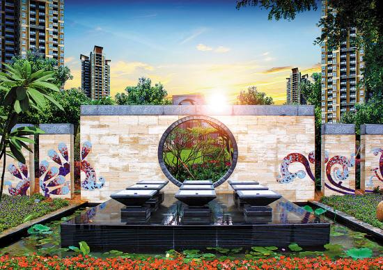 主次入口均设置了喷泉景观,如含美玉,如吐珍珠,或借草坪与景墙的结合图片