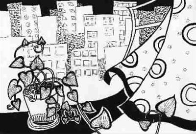 窗边的绿萝(儿童画)