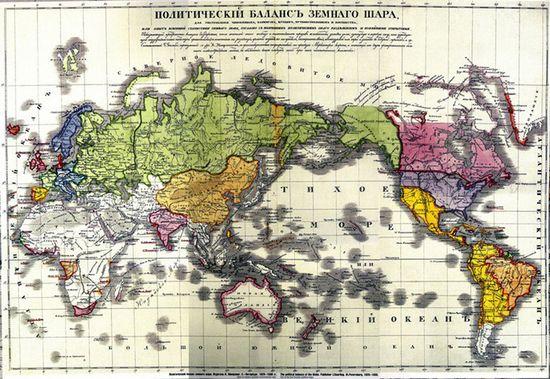 图为1829到1830年,俄罗斯帝国的疆域图。