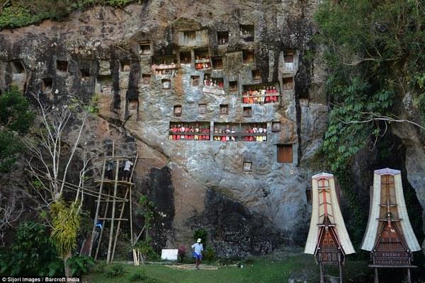 Toraja村放有木乃伊的石头公墓。