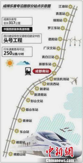 成绵乐铁路客运专线示意图。 钟欣 摄