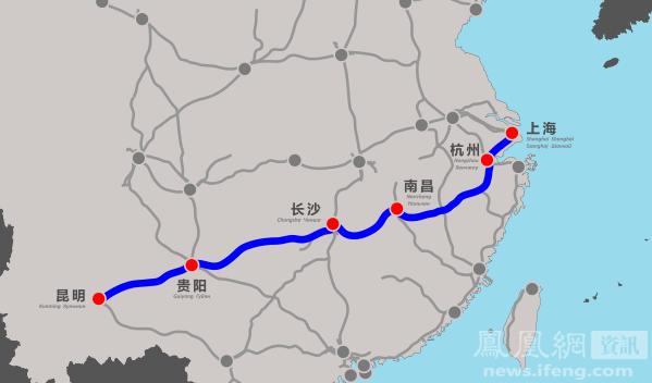 沪昆高铁路线图-南昌至长沙段高铁开通 江西结束高铁 绕着走 历史图片