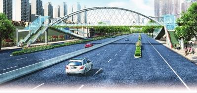 长沙市南二环雅塘村路口人行过街天桥效果图-扮靓大街小巷高清图片
