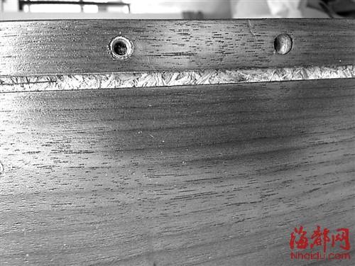 实木皮的内部都是压缩的木屑