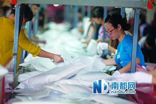 11月11日,南山一家电商物流园内的服装公司仓库,一家物流公司特意为这家服装公司开设专线,工作人员在忙于分拣货物。