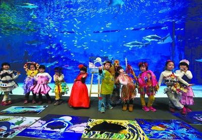 """昨天,三色幼儿园的小朋友们在北京海洋馆第四届""""爱海洋·爱环保""""儿童"""