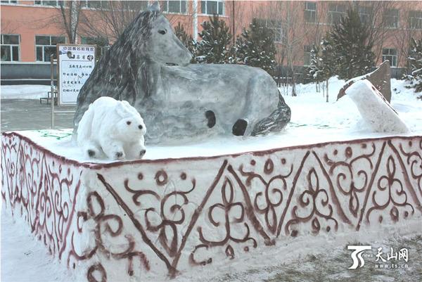 吉木乃县:冰雪校园 放飞梦想|雪雕|校园
