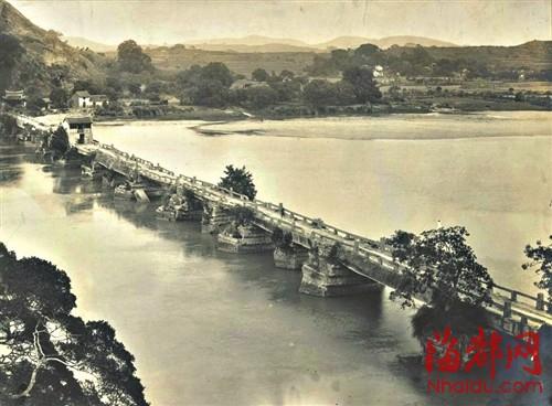 江东古桥俯瞰图(老照片)图片