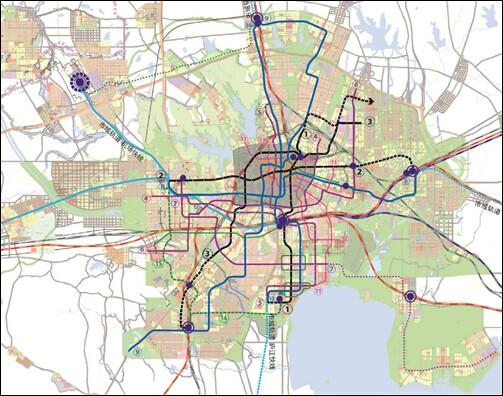 合肥市远景轨道线规划布局,涵盖5条市域轨道线和15条主城区轨道线图片