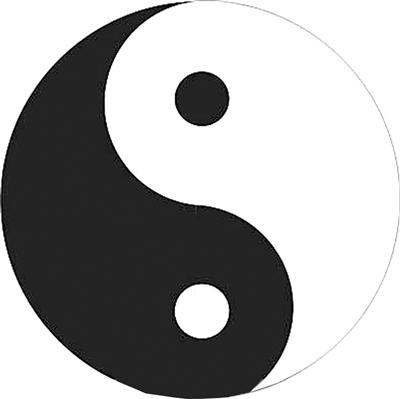 代表阳,刚,天,火,太阳,男,乾,昼,正,主动,光明,新生……国人讲到黑白