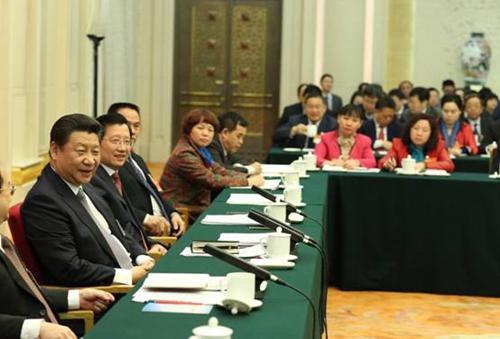 2015年3月6日,中共中央总书记、国家主席、中央军委主席习近平参加江西代表团审议。新华社发