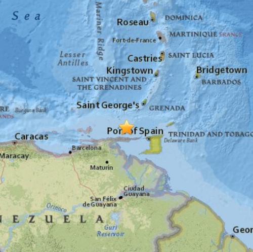 震中示意图。(图片来源:美国地质勘探局)