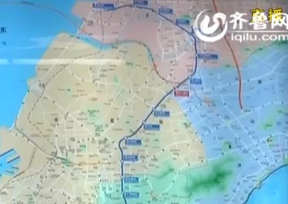 青岛地铁3号线南至青岛火车站,北至青岛北站,因为它大概的形状图片