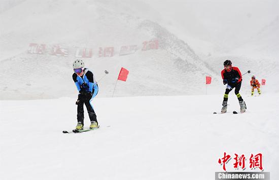 当日,张掖肃南祁连山下大雪纷飞。 杨艳敏 摄