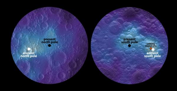 旋转轴的改变(又被称为真极移)是几十亿年前月球内部结构变化导致的