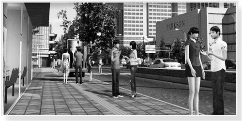在城市街道上,访客之间可以实时交流。 (效果图)