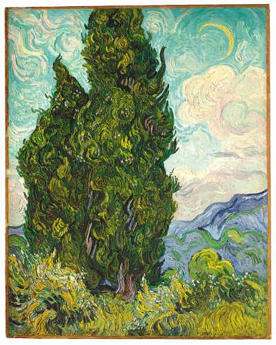 文森特·凡·高油画《柏树》,美国大都会艺术博物馆藏.