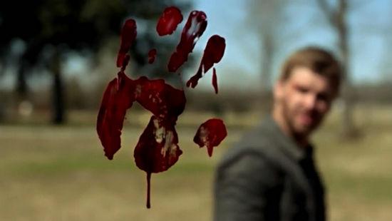 印在透明穹顶上的血手印,血来自被穹顶劈成两半的牛。