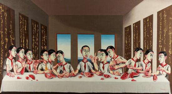 曾梵志(1964年生)《最后的晚餐》,2001年作。