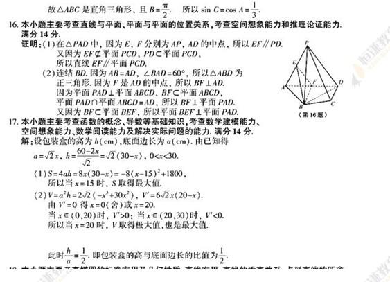 2011年江苏高考文科数学试卷及答案