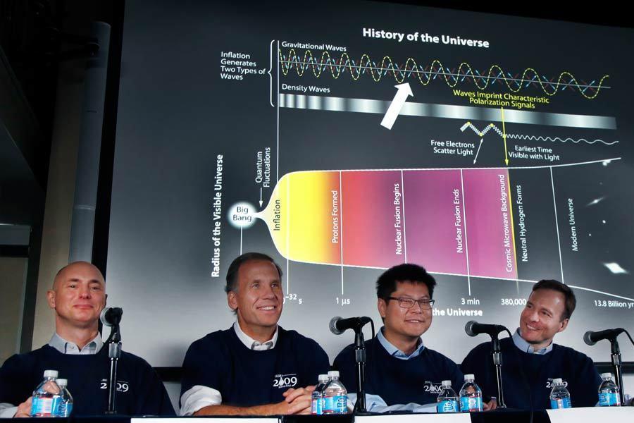 2014年3月17日,美国科学家宣布首次探测到了来自宇宙大爆炸的光在旅途中发生的扭曲现象,也称B-模式,即原初引力波作用到微波背景光子后产生的特殊偏振模式,这证明了原初引力波的存在。