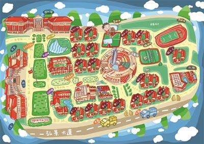 """阳光男孩手绘学校地图 红绿配色""""披萨一样的南广"""""""