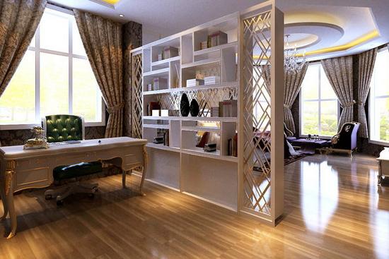 欧式开放式书房装修效果图 欧式开放式书房装修效果图8 简欧强调空间的对比美,不仅采用直接照明手段,而且尊重自然光的合理利用,这种表现能够完整地体现出居住人对品质、典雅生活的追求,视生活为艺术的人生态度。 其实开放式书房还是有很多好处的,大家在家居装修的时候可以考虑一下开放式书房这种装修。