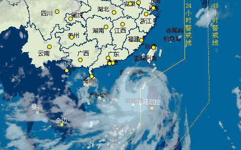 """5日早上6时,台风""""海鸥""""卫星云图-强台风 海鸥 逐步向海南逼近 直图片"""