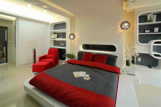 卧室颜色设计装修效果图之红黑搭配 如果想让自己的房间看上去更具有