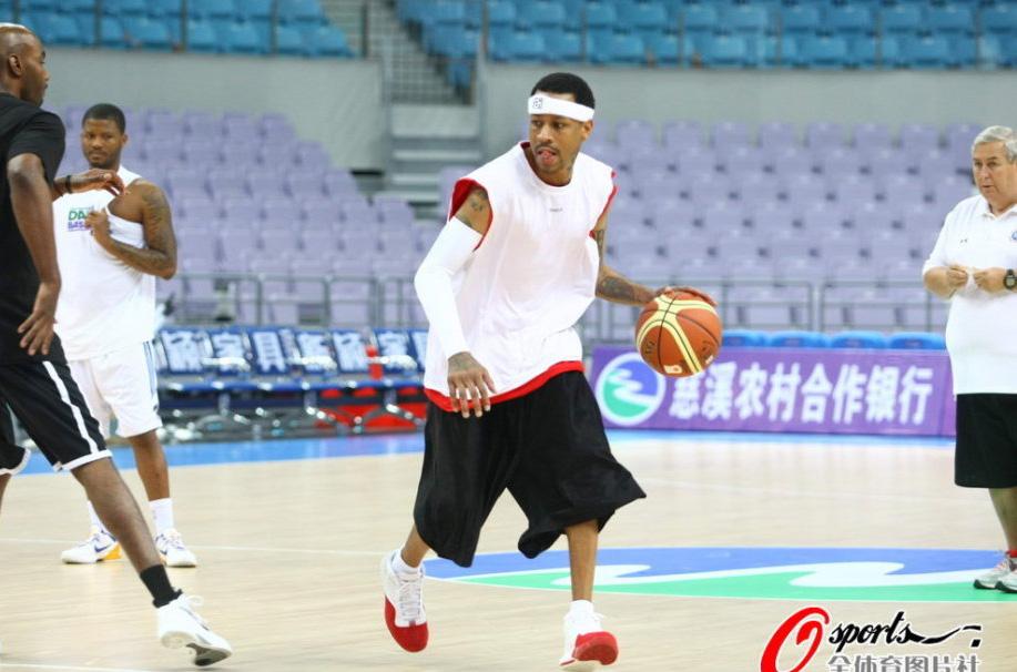 篮球友谊赛,传奇巨星队vs北京金隅,马布里、艾弗森训练备战.