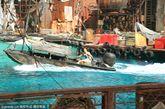 美国洛杉矶好莱坞环球影城未来水世界表演。