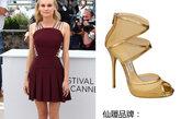 黛安·克鲁格 (Diane Kruger) 穿着周仰杰(Jimmy Choo)黑色绑带高跟鞋,搭配一袭紫红色性感礼服,俏皮又不失优雅。