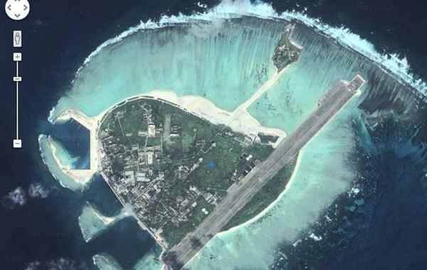 永兴岛(谷歌卫星图片)。