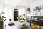 96平米文艺灰白公寓 素色中的几点黄色格外温暖