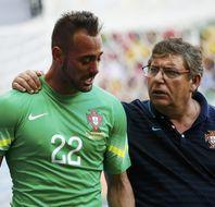 葡萄牙门将受伤被换下后痛哭