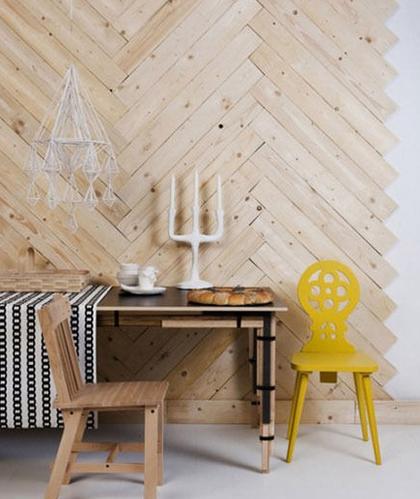跳出你的惯性思维 木地板上墙装饰也惊艳
