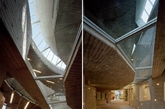建筑内部有一条曲折的街道,两旁是商店和餐厅,天光从上面洒下。它的空间设计十分人性化。多样混凝土结构重复而不规则,形成不同的空间。开窗根据内部空间需要而不是外部审美来设计。(实习编辑:陈尚琪)