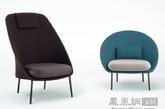 """这是西班牙Mut Design工作室设计了一对""""男女椅""""。 工作室将两个""""基因相似""""椅子设计,命名为双胞胎,由两个特性曲线支持软垫和一个高铝管框架组成。 创始人说Alberto Sánchez说:""""我们想设计一组两把外观相似的简易椅具,但每一个都有强烈的个性。他们每个保持自己独有的个性,这使他们能够单独或一起工作。""""男性""""的椅子是高更方的结构和""""女性""""是较低的,柔和的形状。(实习编辑:周芝)"""