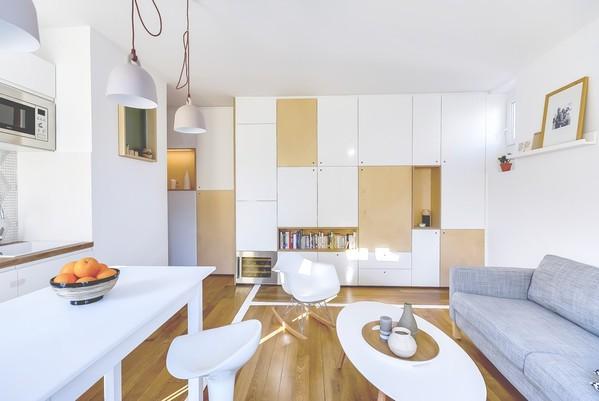 创意布局的大储纳空间:巴黎30平小公寓设计