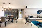 如果你热爱工业风,如果你偏向现代设计,那么这款公寓设计你绝对不容错过!客厅地板采用米白色瓷砖,而家具则大范围的使用暗色系的产品,色彩的冲突带来视觉的享受,大块蓝色地毯更是画龙点睛之笔!(实习编辑:谭婉仪)