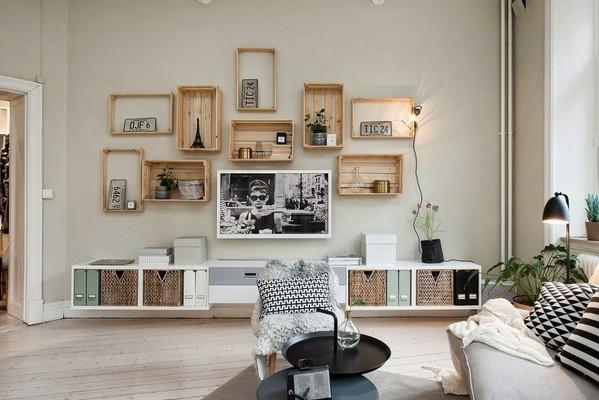小巧而精致 创意电视背景墙打造乡村复古风公寓
